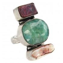 Opulent inel statement indian decorat cu rădăcină de smarald și perle naturale | manufactură în argint