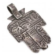 Veche amuletă pectorală Khamsa manufacturată în argint | Tunisia secol XIX
