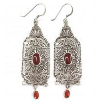 Eleganți cercei candelabru egipteni | manufactură în argint & agat carnelian