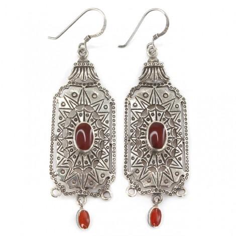 Eleganți cercei candelabru egipteni   manufactură în argint & agat carnelian