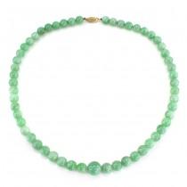 Elegant colier de jad natural burmez | sistem de închidere din aur 14 karate | Myanmar
