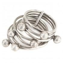 Inedit inel modernist multiring manufacturat în argint   Franța