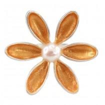 Inel statement modernist elaborat sub forma unei flori   argint, email, perlă naturală de cultură   atelier Sezgin - Turcia