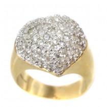 Elegant inel cocktail din argint aurit incrustat cu o bogată suită de cristale zirconium | atelier Claudio Ivano cca 1990