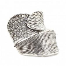 Inel statement contemporary din argint texturat și incrustat cu zirconii | Spania anii 2000