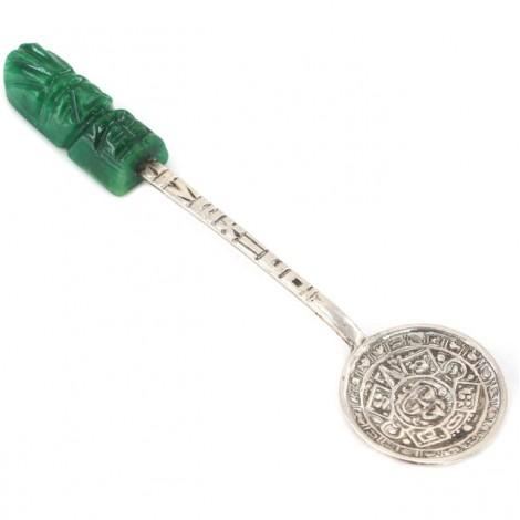Linguriţă din argint cu mâner sculptat în jad natural | modernism mexican | cca. 1970 -1980