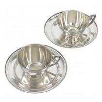 Serviciu tete-a-tete de cești petru cafea și farfurii pentru deserturi fine | manufactură în argint | Wiener Secession cca.1922