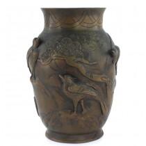 Veche vază japoneză din bronz   atelier Yoshida Zo Kyoto   perioadă Meiji cca.1880