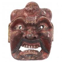 Mască japoneză de teatru Gigaku   Konron   lemn sculptat și pictat   perioadă Edo cca. 1800 - 1850