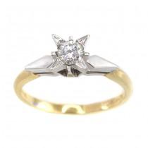 Inel solitar din aur 18 k cu diamant natural 0,27 CT | Marea Britanie | 1975