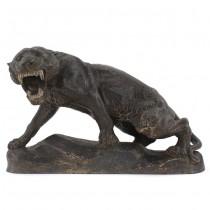 Statuetă Art Deco reprezentând o leoaică | spelter patinat | sculptor Thomas Cartier | Franța 1925