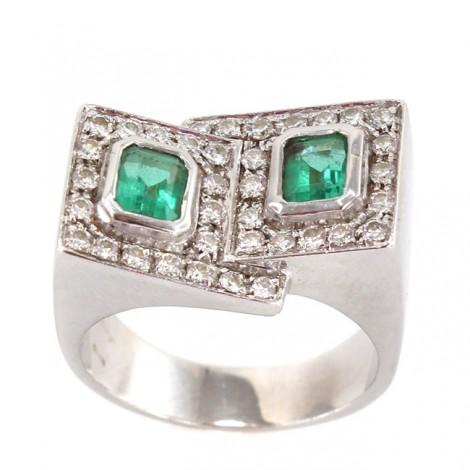 Inel statement modernist din aur 18 K decorat cu diamante și smaralde naturale   Italia cca. 1990