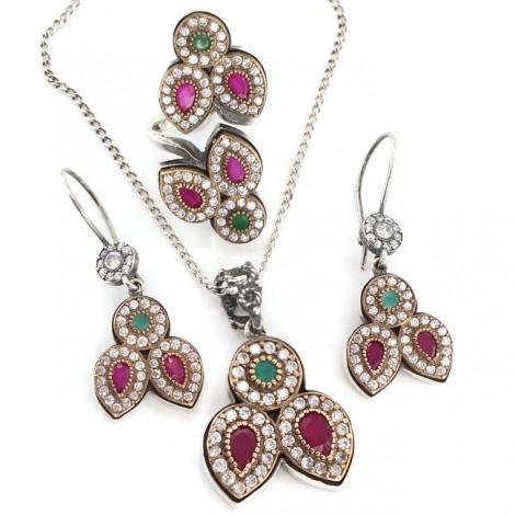 Spectaculos set de bijuterii festive din argint decorat cu radăcini de smaralde și rubine | India anii 2010