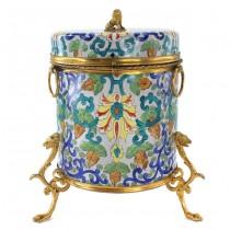 Biscotieră neoclasică din porțelan pictat manual și bronz dore   Italia cca.1920