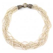 Elegant colier multi-strand de perle naturale Baroque Seeds prevăzut cu un elegant sistem de închidere din argint | Franța cca. 1970