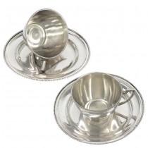 Serviciu tete-a-tete compus din 2 cești petru cafea și 2 farfurii pentru deserturi fine | manufactură în argint | Wiener Secession cca.1922