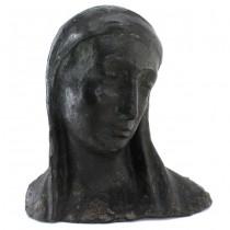 Veche sculptură Sfânta Maria în ipostaza Madonna della Pieta | ciment patinat verdigris | cca. 1910