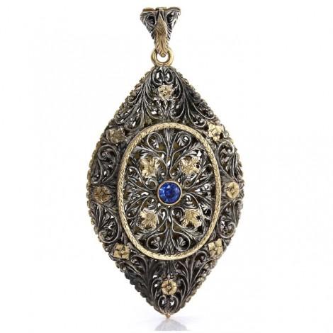 Pandant locket victorian tip vinaigrette manufacturat în aur 15 k și argint decorat cu safire naturale | Marea Britanie cca.1850