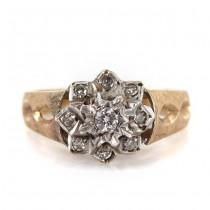 Inel Victorian Revival din aur alb și aur galben 9 k decorat cu diamante naturale | Marea Britanie anul 1976