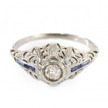 Rafinat inel Art Deco din aur alb 18 k cu diamant natural 0.30 CT și safire baguette | Franța cca. 1920