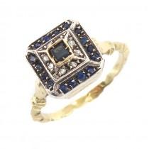 Inel Art Deco din aur 14 k și argint decorat cu o bogată suită de safire și diamante naturale | Franța cca.1920