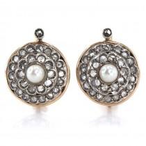 Cercei statement Art Deco decorați cu diamante naturale și perle naturale de cultură | manufactură în aur & argint | Franța cca.1930