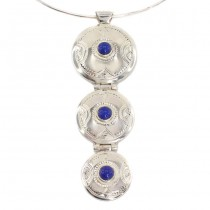Colier choker accesorizat cu o inedită amuletă tuaregă | argint & agat albastru | manufactură unicat | Niger