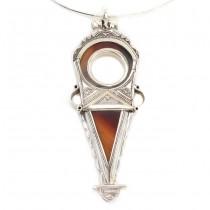 Colier choker accesorizat cu o impresionantă amuletă Tanfouk | argint & agat carneol | manufactură unicat | Niger
