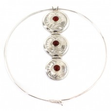 Colier choker tuareg accesorizat cu o inedită amuletă lavalier | manufactură unicat în argint & carneol natural | colecția Ancient Symbols by ArtAntik Gallery