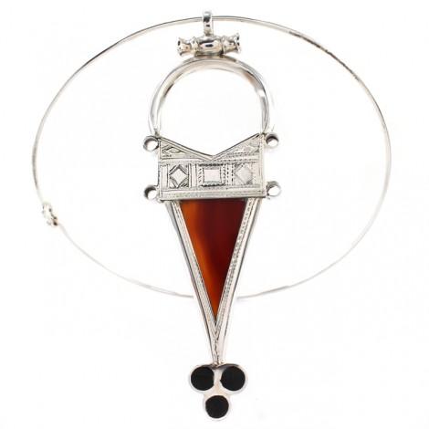 Spectaculos colier choker decorat cu amuletă tuaregă Tanfouk   manufactură în argint, carneol & abanos   colecția Ancient Symbols 2020