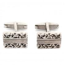 Butoni vintage din argint splendid decorați cu motive vegetale | atelier DGS | Turcia cca.1960