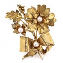 Impresionantă broșă vintage din argint aurit & decorat cu perle de Mallorca | Spania cca.1960