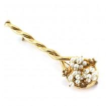 Elegantă broșă statement din argint aurit & perle naturale de cultură | atelier Francesco Airoldi | Italia cca. 1990