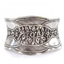 Impresionantă brățară manchette din argint ornamentat în stil Yogya | manufactură de atelier indonezian