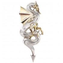 Broșă statement modernistă inedit stilizată sub forma unui dragon   argint parțial suflat cu aur   anii 2000