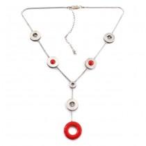 Colier lavalier din argint & email roșu | design contemporan | Italia anii 2010