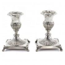 Pereche de sfesnice din argint elaborate în stil neoclasic | Italia cca. 1950