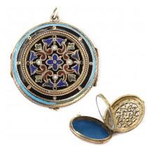 Pandant victorian locket vinaigrette splendid manufacturat în argint emailat și aurit | secol XIX