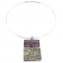 Colier choker accesorizat cu un spectaculos pandant statement modernist | argint, ametist natural & sidef Abalone | Statele Unite