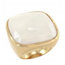 Inel statement modernist din argint aurit & onix alb natural   Italia
