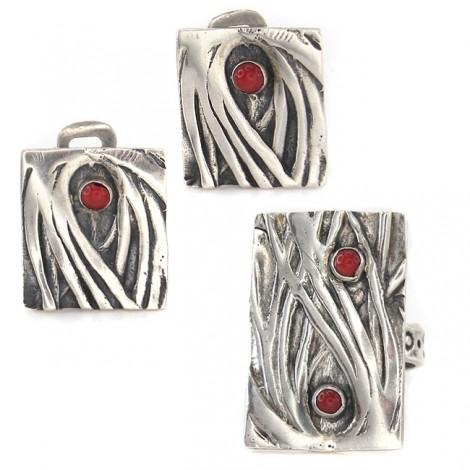 Set de bijuterii moderniste din argint decorat cu anturaje de coral natural | cercei clips & inel reglabil