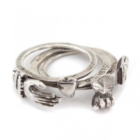 Inedit inel de logodnă | Gimmel - Fede | manufactură în argint | Mexic cca.1950
