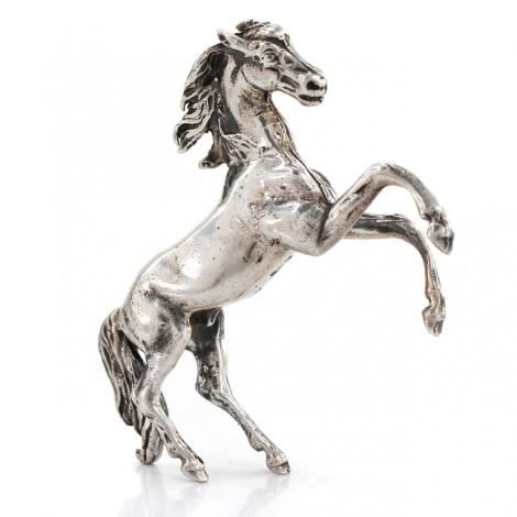 Statuetă miniaturală din argint redând un cal cabrat | atelier Belfiore Giuseppe