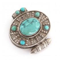 Amuletă tibetană Ghau din argint decorat cu anturaje de turcoaz natural himalayan | Nepal