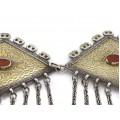 Impresionantă pafta etnică turkmenă | triburile Tekke | manufactură în argint & carneol | Turkmenistan cca.1900