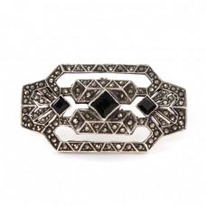 Broșă Art Deco din argint  decorat cu onix negru și incrustații de marcasite | Franța cca. 1940 -1950