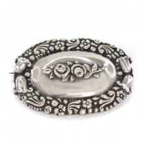 Veche broșă Skonvirke - Art Nouveau | manufactură în argint | Danemarca cca. 1910