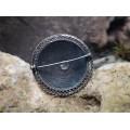 Broșă vintage Etruscan Revival | manufactură în argint filigranat & rubin faux | Italia anii '70