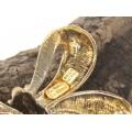 Broșă statement modernistă elaborată sub forma unei funde | argint placat cu aur galben | Le Monde des Bijoux | Italia cca. 1980