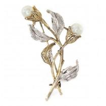 Broșă vintage din argint parțial aurit & perle de cultură | 1970 -1980
